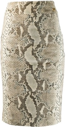 Class Roberto Cavalli Snakeskin Print Pencil Skirt