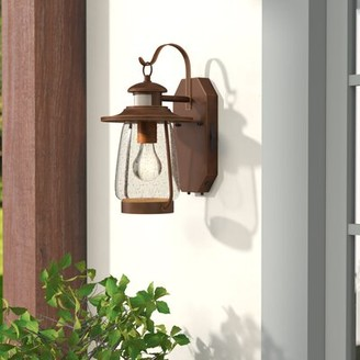 "Three Posts Belpre Burnished Bronze 1 - Bulb 13.75"" H Outdoor Wall Lantern"
