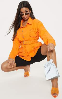 PrettyLittleThing Orange Military Denim Pencil Pocket Jacket