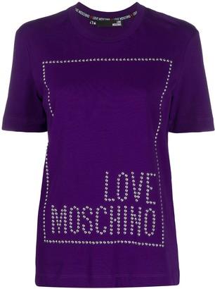 Love Moschino studded logo cotton T-shirt