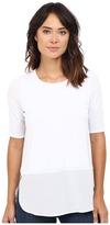 Heather Silk Round Hem 3/4 Sleeve Top