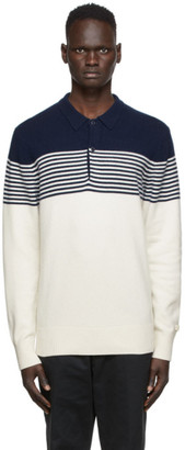 Aimé Leon Dore Off-White and Navy Wool Long Sleeve Polo