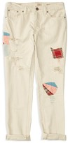 Ralph Lauren Girls' Distressed and Patched Twill Jeans - Sizes 7-16