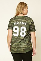 Forever 21 FOREVER 21+ Plus Size Camo Baseball Jersey