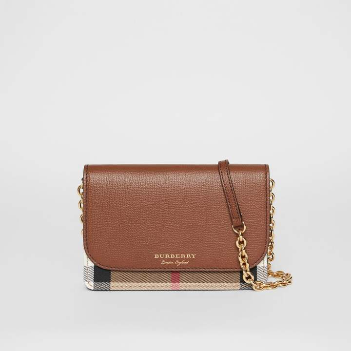 Burberry Leather and House Check Wallet with Detachable Strap