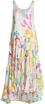 Tanya Taylor Colette Silk Pleated Dress