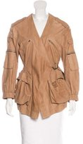 Donna Karan Leather Cargo Pocket Jacket