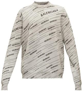 Balenciaga Monogram Logo-jacquard Wool-blend Sweater - Black Grey