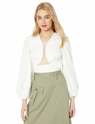C/Meo Women's Feels Like Summer Puff Sleeve Plunging Fashion TOP Blouse