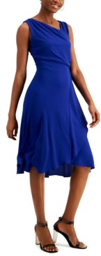 Kensie Asymmetrical-Neck Midi Dress
