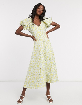 Sister Jane Dream midi tea dress with faux pearl buttons and puff sleeves in floral jacquard
