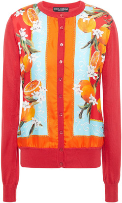 Dolce & Gabbana Printed Satin Twill-paneled Silk Cardigan