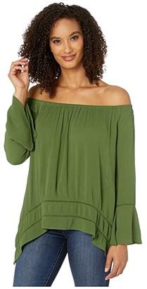 Wrangler Off-Shoulder Peasant Bell Sleeve (Olive) Women's Clothing