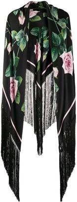 Dolce & Gabbana Tropical Rose fringed scarf