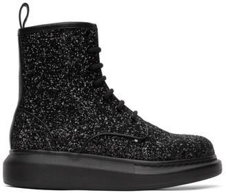 Alexander McQueen Black Glitter Combat Boot