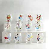 Pier 1 Imports 12 Days of Christmas Painted Wine Glass Set
