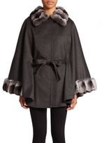 Sofia Cashmere Chinchilla Fur-Trimmed Cashmere Cape