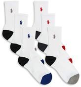 Ralph Lauren Boys' Athletic Crew Socks, 6 Pack - Sizes 8-11