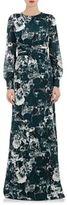 Ungaro Women's Floral Silk Open-Back Gown-DARK GREEN