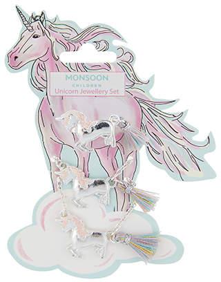 Monsoon Izzy Unicorn Necklace, Bracelet & Ring Set
