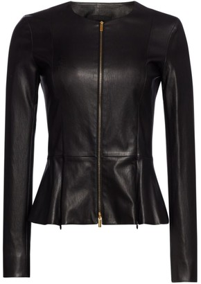 The Row Essentials Anasta Leather Peplum Jacket