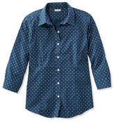 L.L. Bean Wrinkle-Free Pinpoint Oxford Shirt, Three-Quarter-Sleeve Print