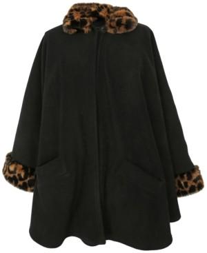 Cejon Fleece Cape With Faux-Fur Trim