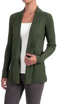Cable & Gauge Directional Ribbed Cardigan Sweater - Rayon, Open Front (For Women)