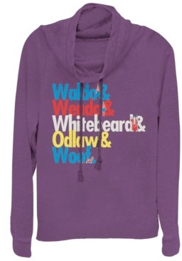 Fifth Sun Where's Waldo Colorful Character Name Stack Cowl Neck Sweater