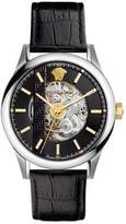 Versace 44mm Aiakos Automatic Skeleton Watch with Black Leather Strap