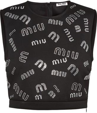Miu Miu Crystal-Embellished Logo Crop Top