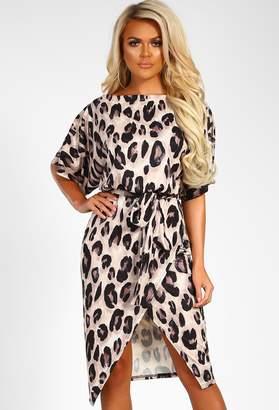 Pink Boutique So Wild Multi Animal Print Lurex Belted Wrap Front Midi Dress