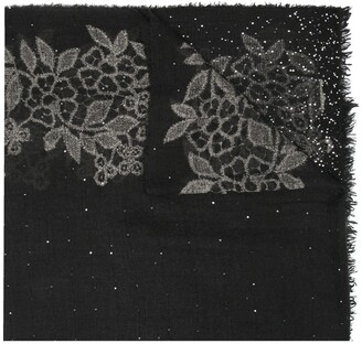 Faliero Sarti Sequinned Floral-Pattern Scarf