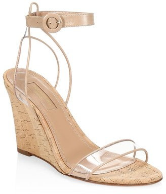 Aquazzura Minimalist PVC & Leather Cork Wedges