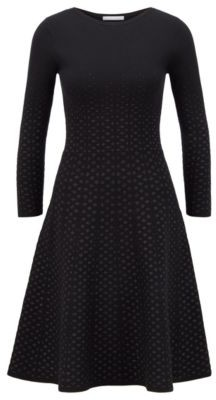HUGO BOSS Jacquard Knit Long Sleeved Dress With Degrade Effect - Black