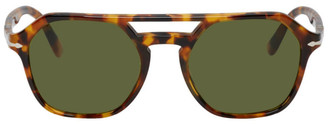 Persol Tortoiseshell and Green Madreterra Sunglasses