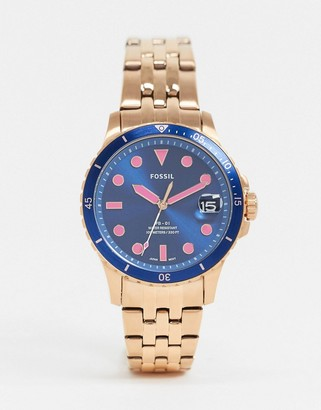 Fossil fb-01 rose gold bracelet watch with blue dial ES4767