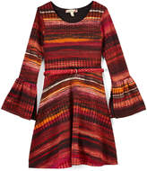 Speechless Burnt Orange Stripe Belted Bell-Sleeve A-Line Dress - Girls