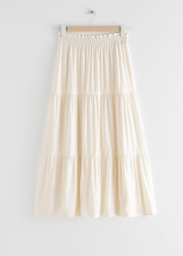 And other stories Smocked Waist Tiered Midi Skirt
