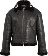 Balenciaga Logo-collar shearling jacket