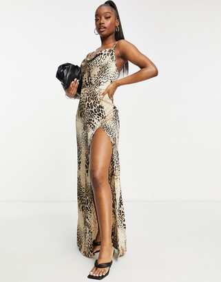 Saint Genies cowl front satin maxi dress with high thigh split in leopard print