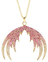 House Of Waris Plumage Ombré 18kt Gold Pendant Necklace With Pink Sapphires