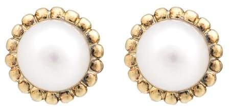 Lagos 925 Sterling Silver & 18K Yellow Gold Mabe Pearl Stud Earrings