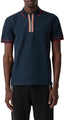Burberry Waltham Icon Stripe Zip Cotton Pique Polo