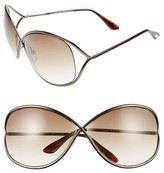 Tom Ford Women's Miranda 68Mm Open Temple Oversize Metal Sunglasses - Bronze