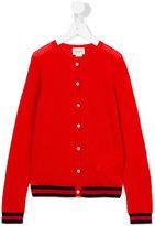 Gucci Kids - contrast stripe cardigan - kids - Viscose/Wool/Metallic Fibre - 8 yrs