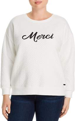 Andrew Marc Plus Quilted Graphic Sweatshirt