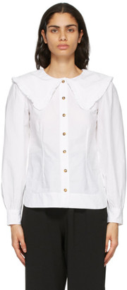 Ganni White Sailor Collar Shirt