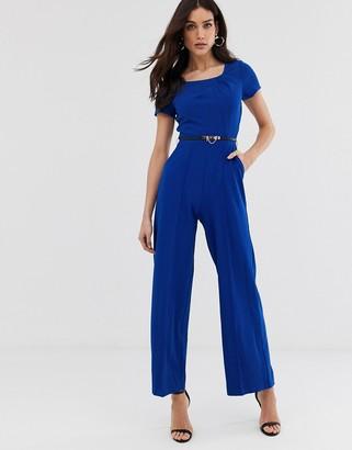Paper Dolls belted wide leg jumpsuit-Blue
