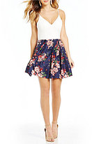 Teeze Me Spaghetti Strap Floral Print Skirt Fit-and-Flare Dress